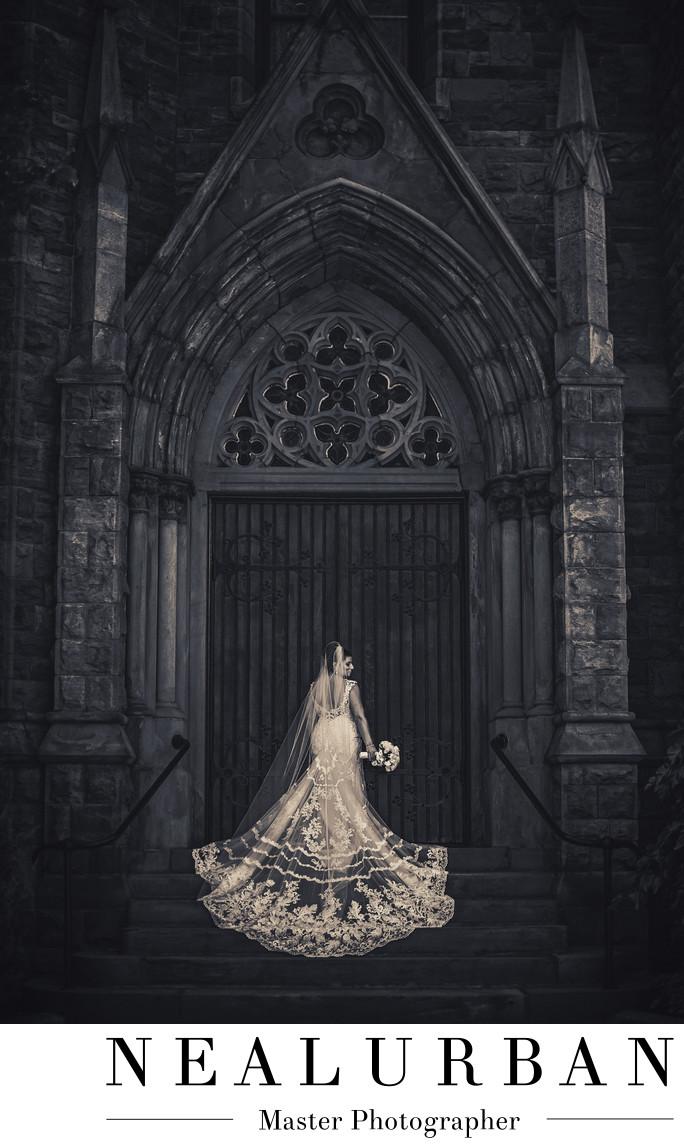 Buffalo bridal portrait at st louis church doors wedding dress