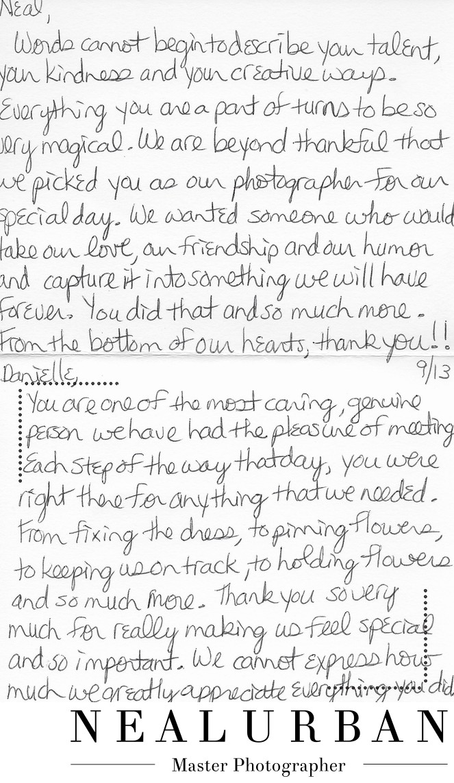 buffalo wedding photography reviews and thank you card