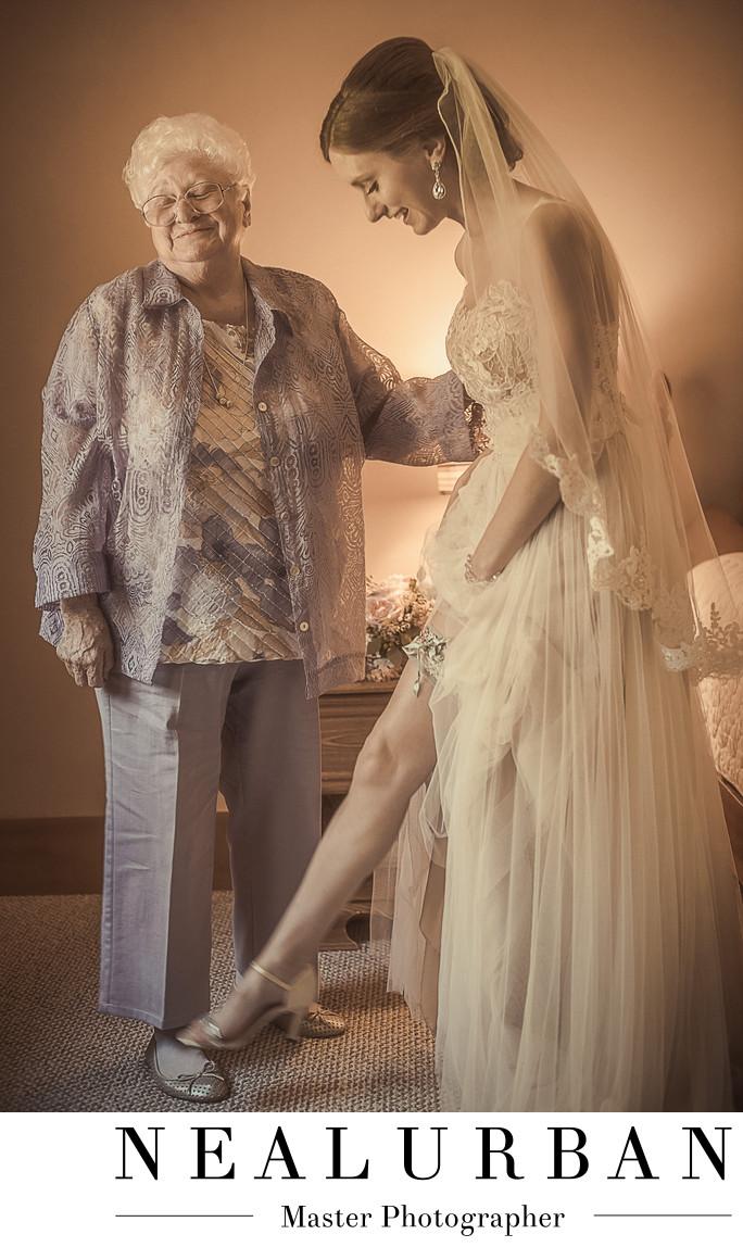 buffalo wedding bride and her grandmother garter lifestyle
