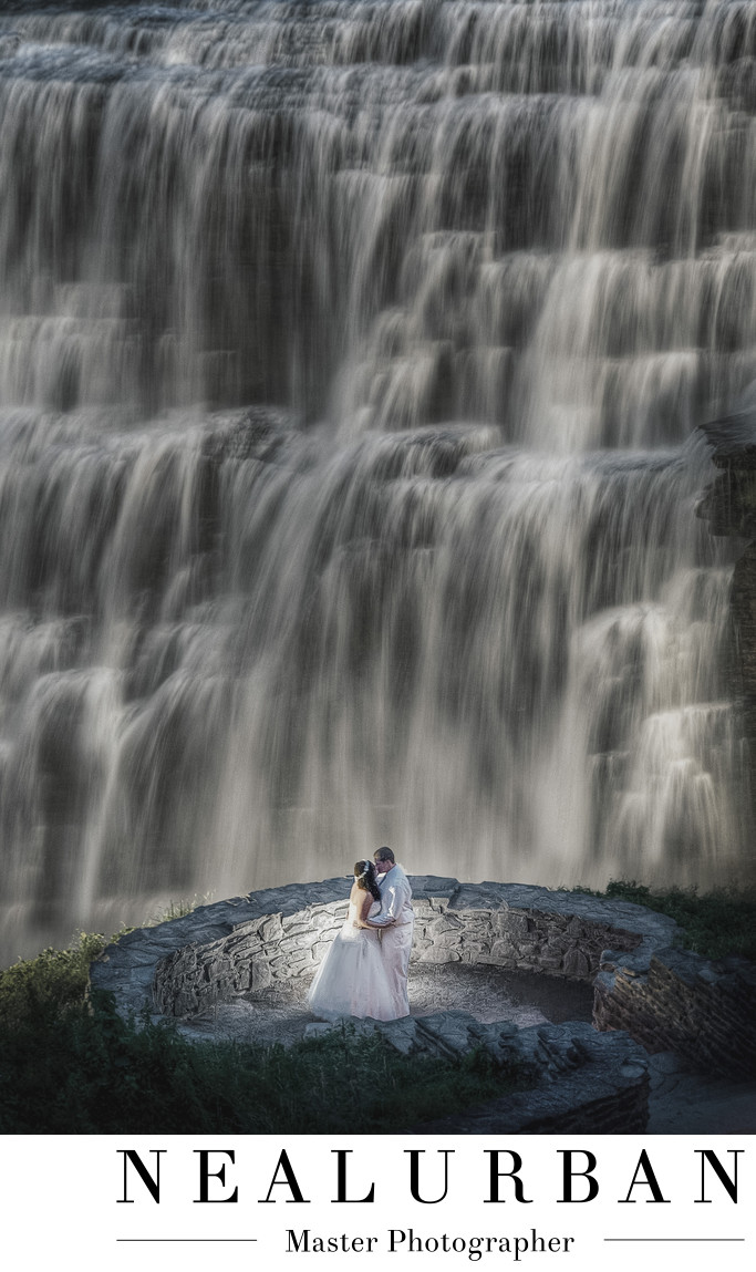 letchworth waterfall wedding photography location at night