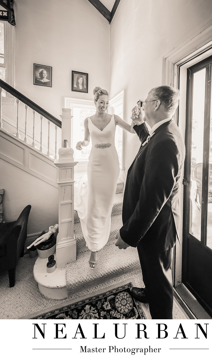 father daughter wedding first look country home stairs