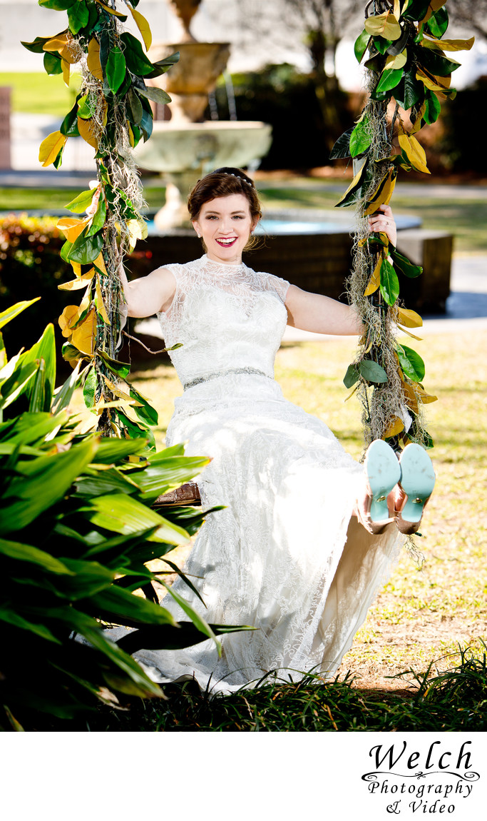 Bride on swing Southern Oaks Plantation New Orleans LA ...