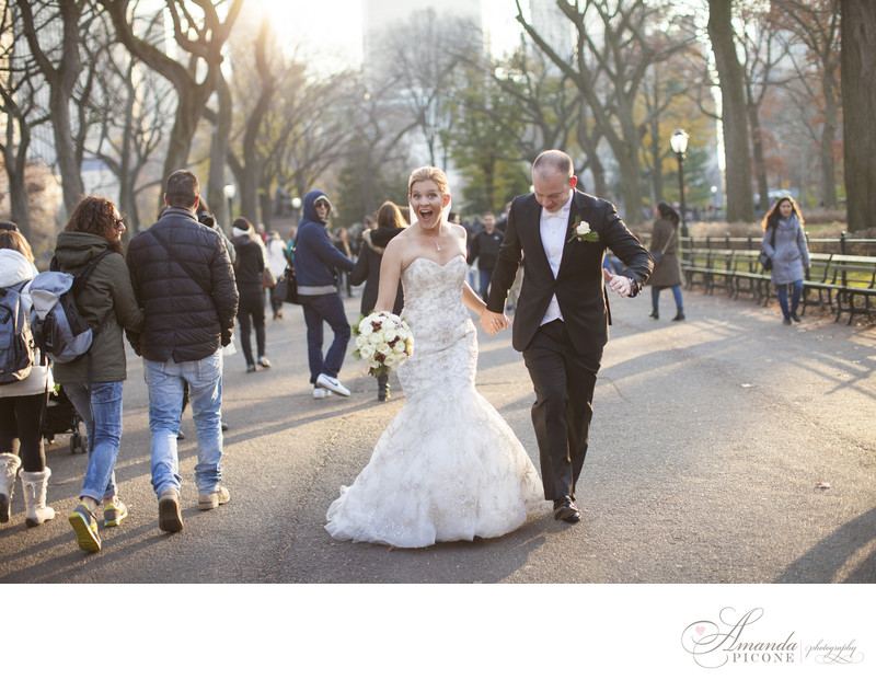 Bride and groom being silly in Central Park NYC