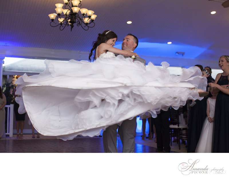 Bride and groom fun first dance at Snapper Inn Long Island