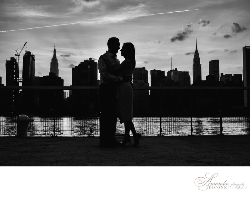 NYC Skyline Silhouette Engagement Photos Long Island City