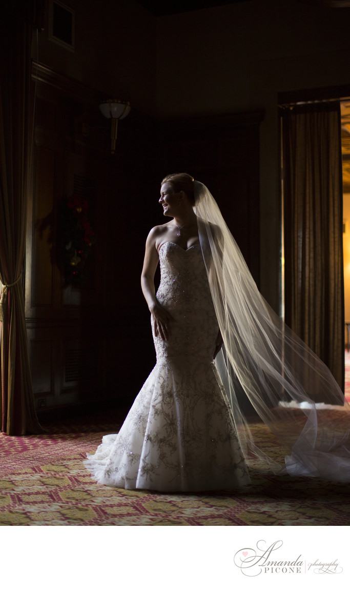 Bride alone in sunlight at New York Athletic Club Wedding