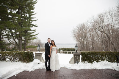Bride and Groom Snowy Wedding Tappan Hill Mansion