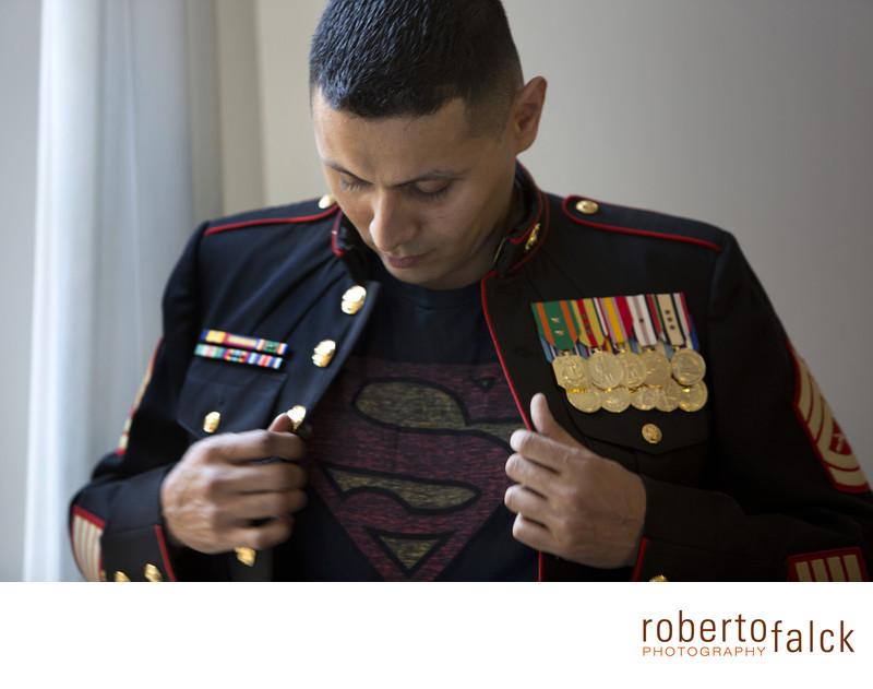 new york wedding photographer groom superman