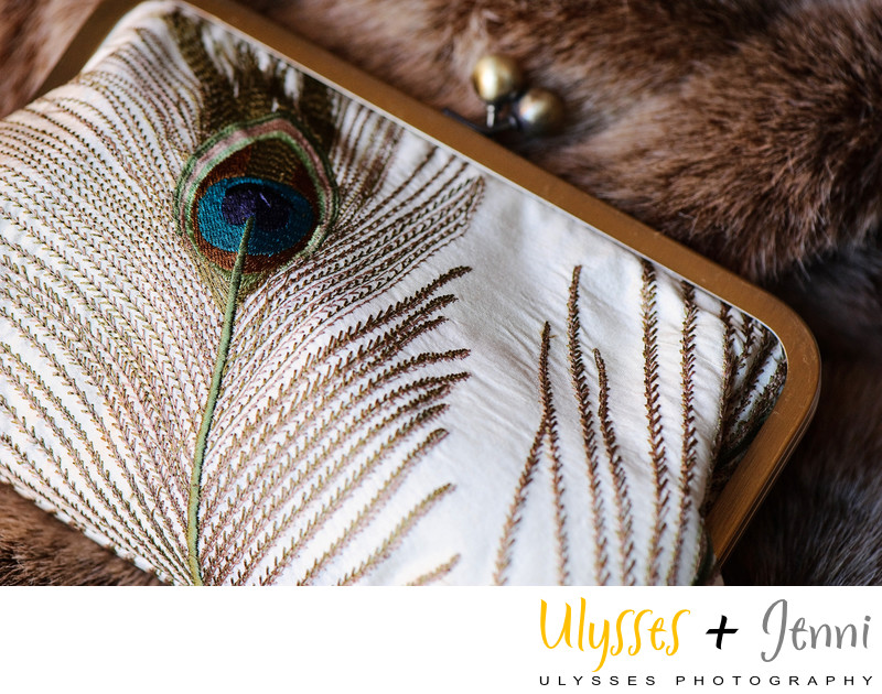 PEACOCK FEATHER BRIDAL CLUTCH