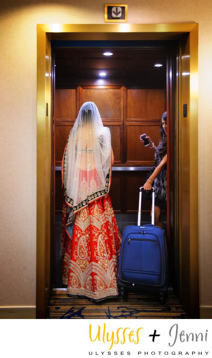 Indian bride in elevator  - Ulysses Photography