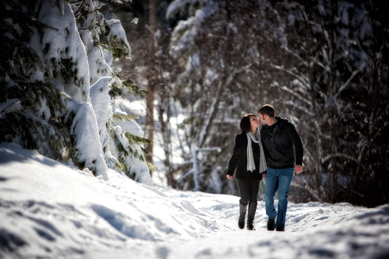 Outdoor Snow Engagement Photography
