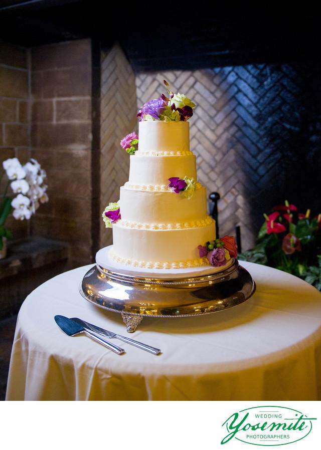 Wedding Cake With Purple Flowers Yosemite Wedding