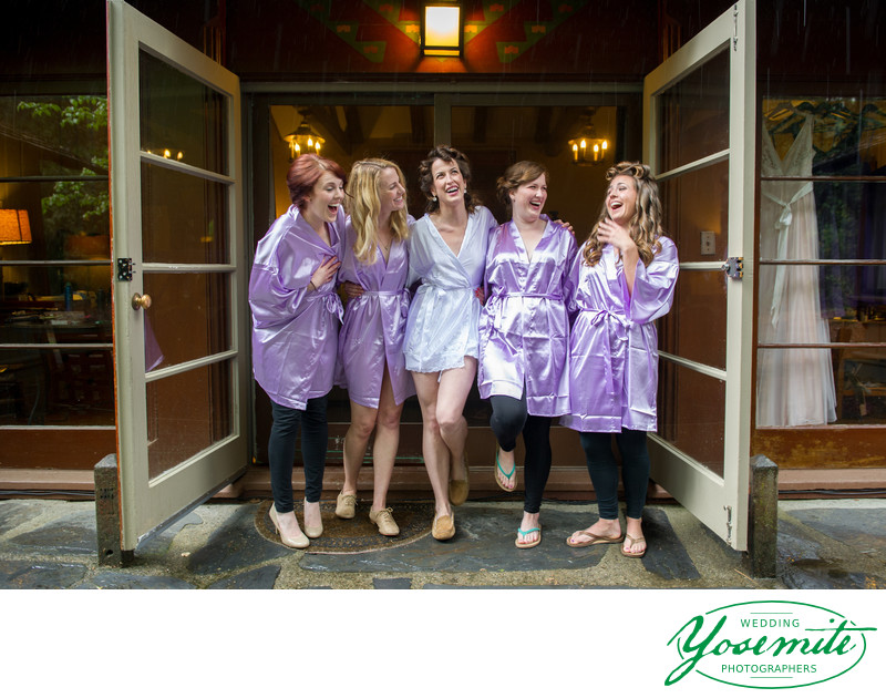 Bride And Bridesmaids in Dressing Gowns Yosemite Wedding