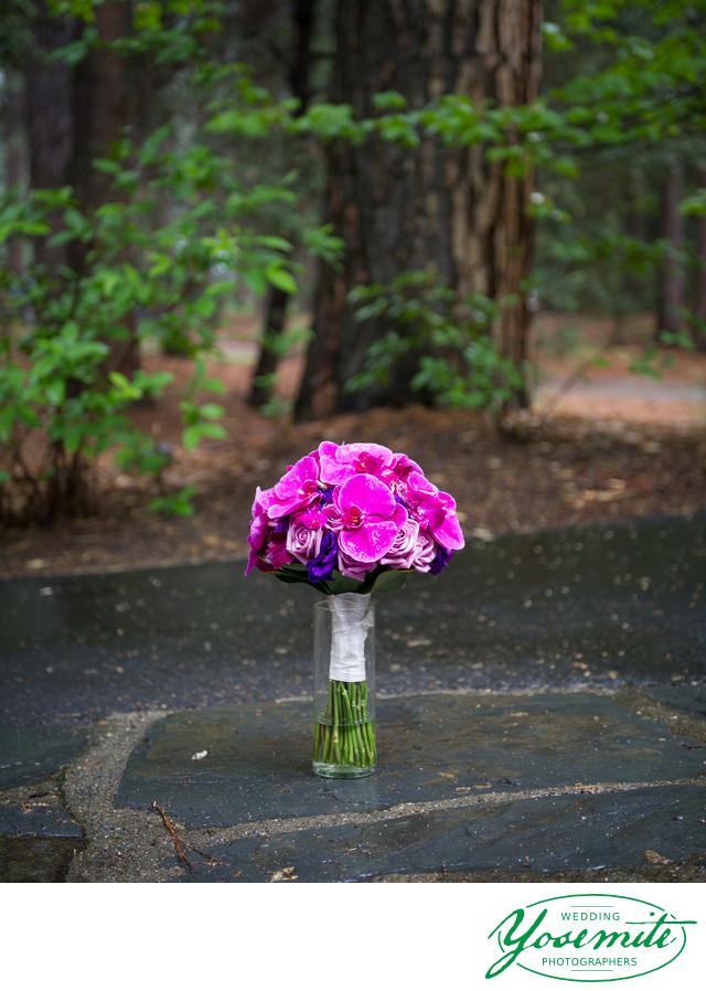 Purple Orchids Wedding Bouquet Yosemite Wedding