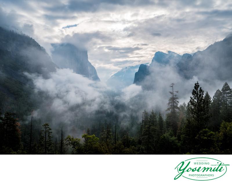 Spring Rain Clouds Clearing Morning of Yosemite Wedding