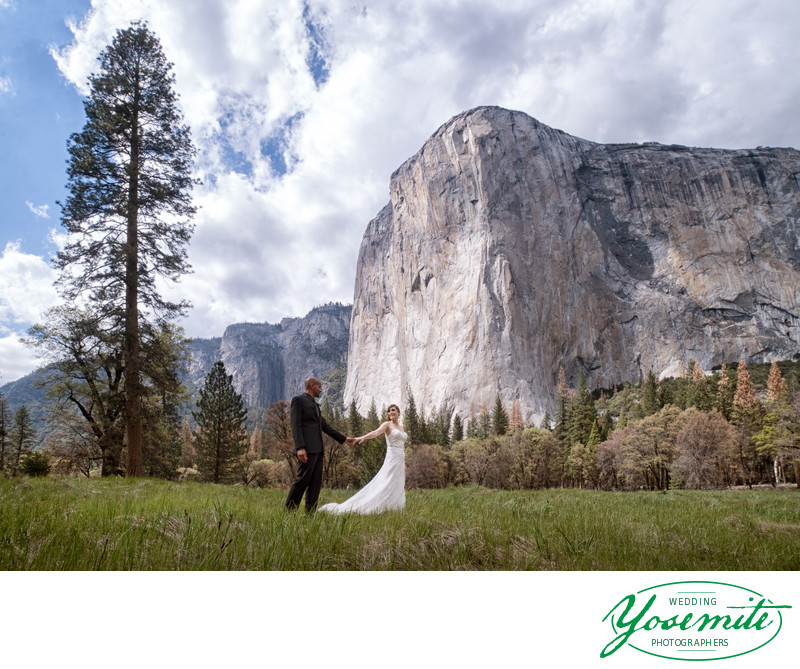 Bride And Groom In Front Of El Capitan On Wedding Day