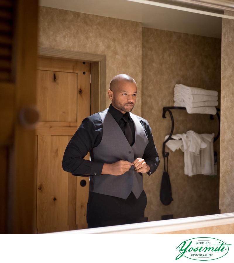 Groom Prepares For Wedding Day At Tenaya Lodge