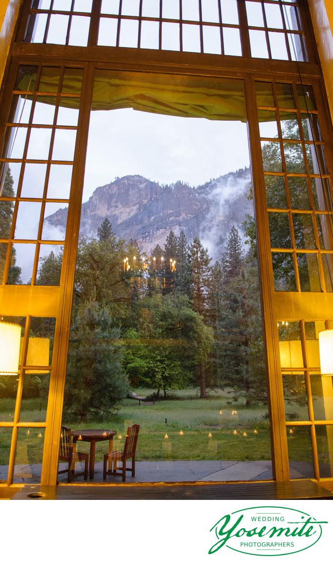 Wedding Reception in Solarium During Spring Rain Yosemite