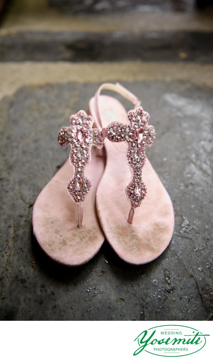 Betsy Johnson Pink Bling Sandals At Yosemite Wedding