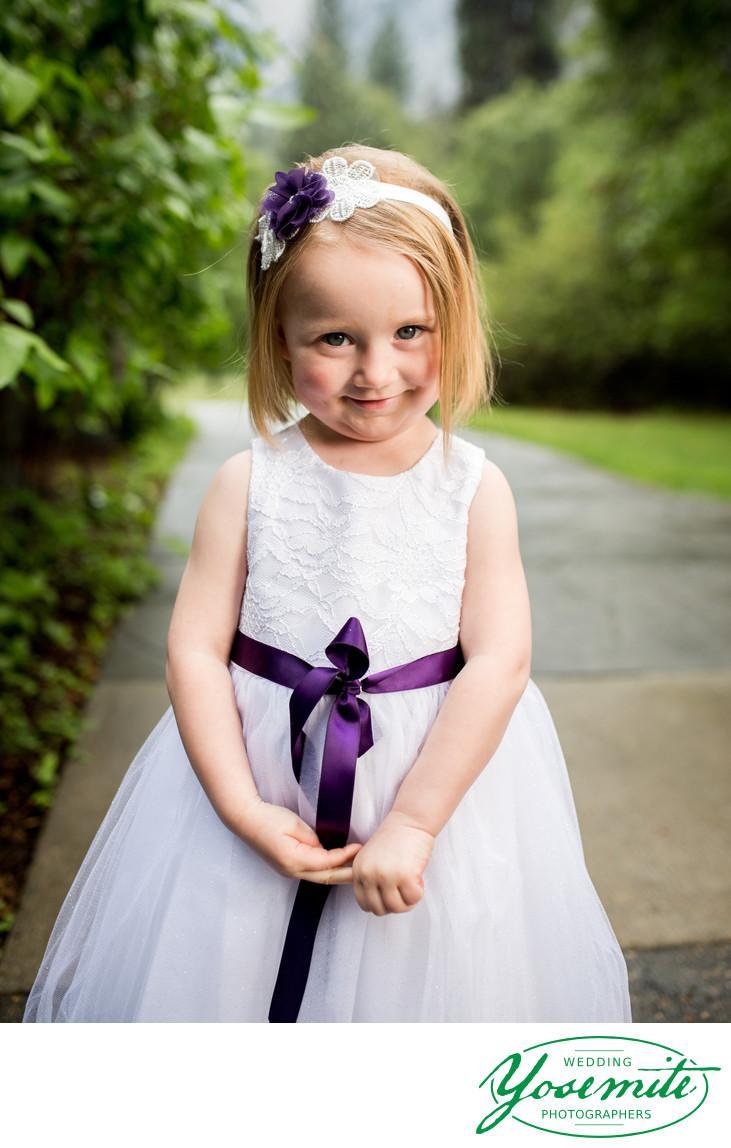 Shy Little Flower Girl at Majestic Yosemite Hotel Wedding