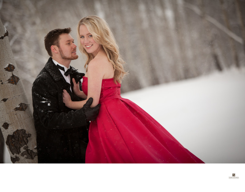 Snowy Red Dress Engagement Session Tamarack