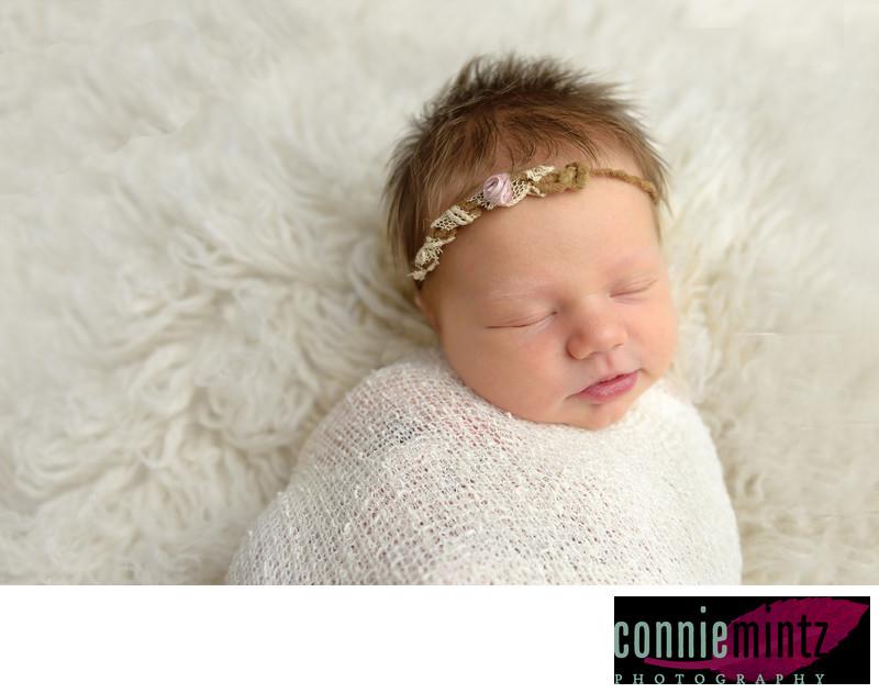 Newborn Photography bundled in gauze Portland, Oregon