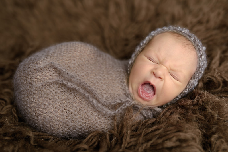 studio newborn in portland OR brown wrap and lace hat