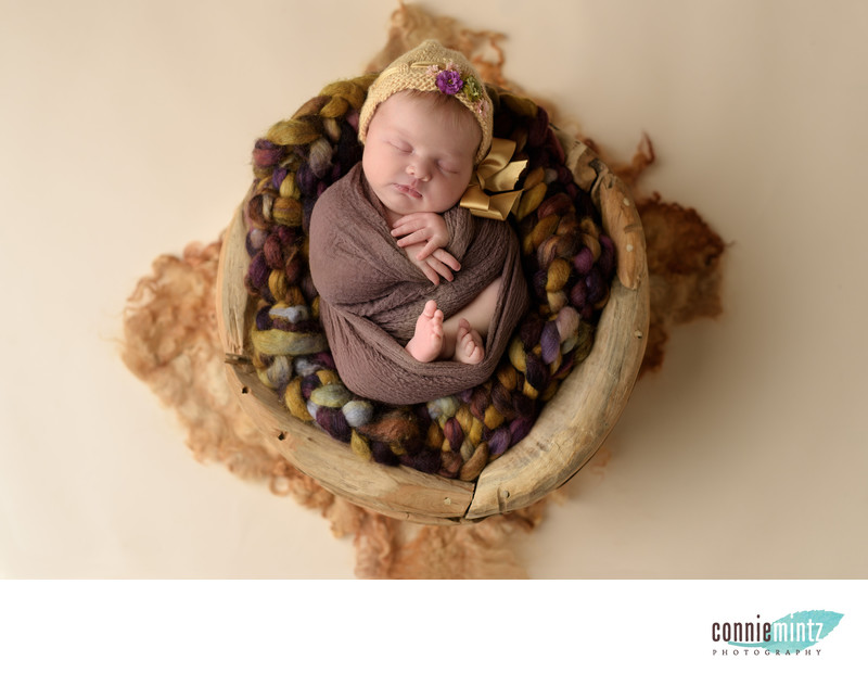 Vancouver Newborn in wooden bowl
