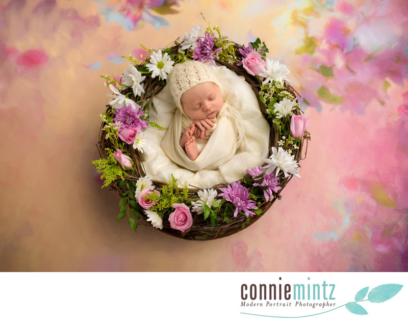 Newborn Photography with fresh flowers
