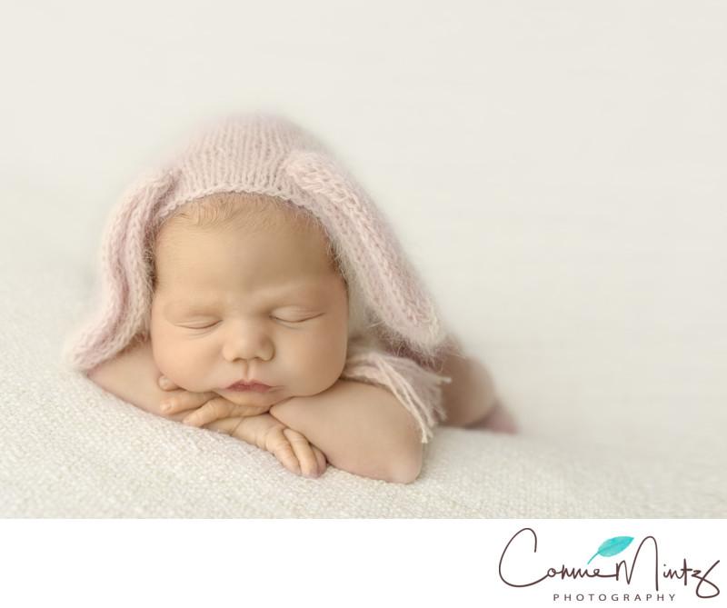 Vancouver newborn in bunny bonnet