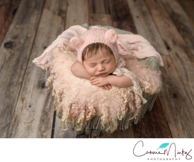 Rustic Floor and Bunny Newborn in Vancouver Studio