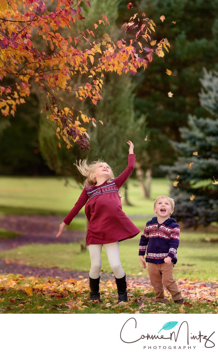 Children Playing in Leaves in Battleground, WA