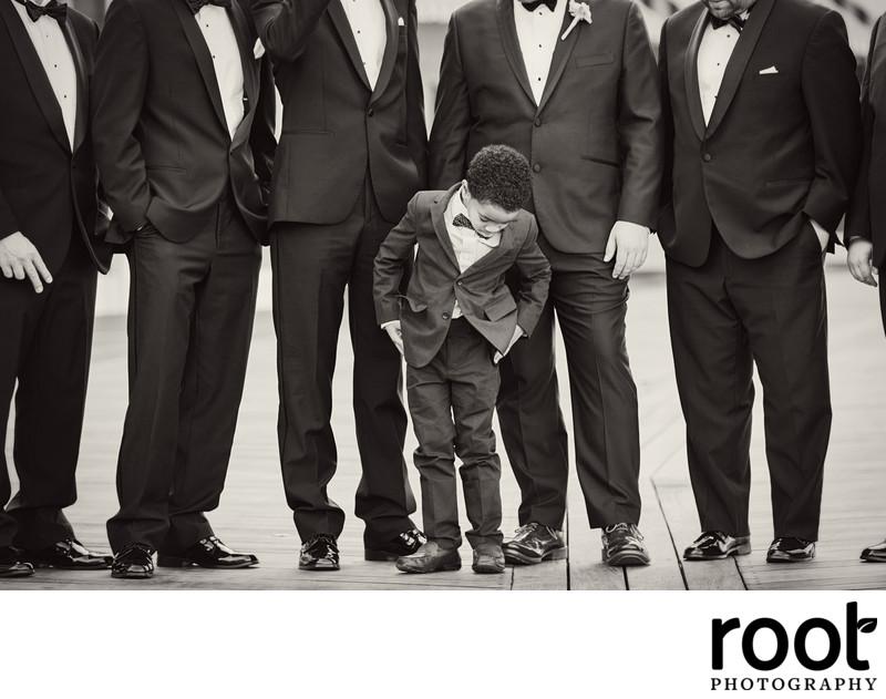 Groomsmen and Ring Bearer on the Boardwalk