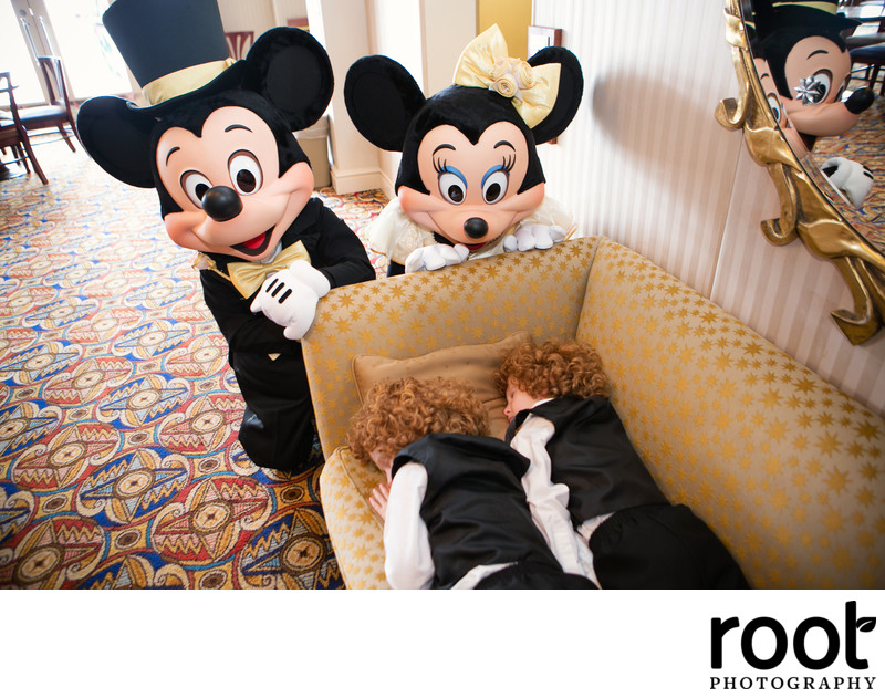 Mickey and Minnie Wedding Photo Bomb