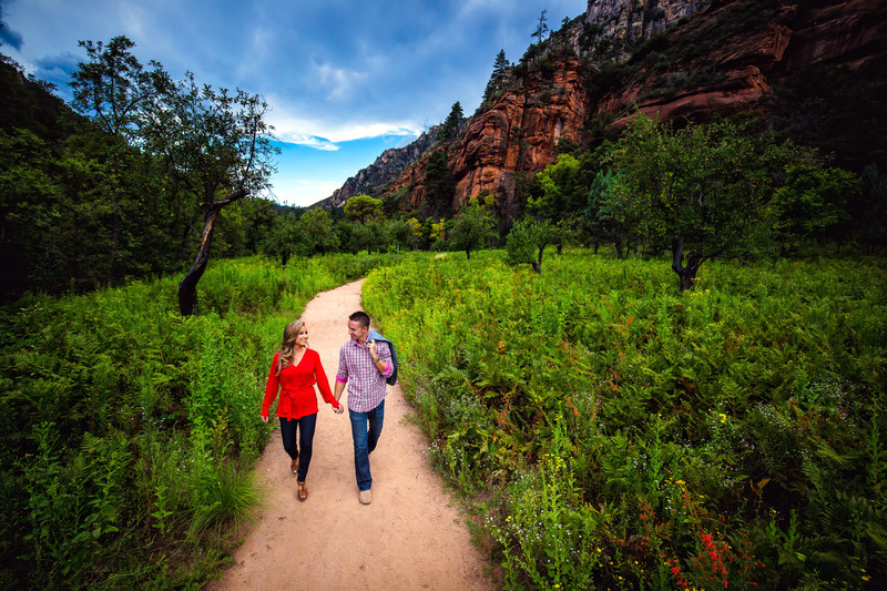 Outdoor Engagement Shoot at Oak Creek Canyon in Sedona Arizona - Sedona Wedding Photographers - Ben and Kelly Photography