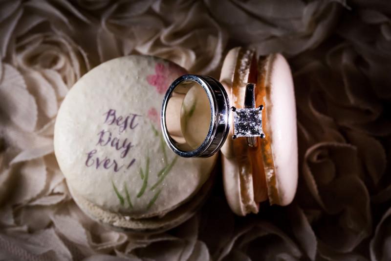 wedding ring in macaron