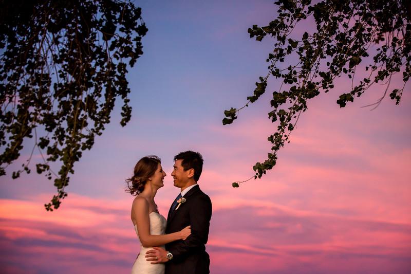 Sedona wedding photo at sunset - Bell Rock wedding
