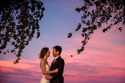 Sedona wedding photo at sunset - Bell Rock wedding