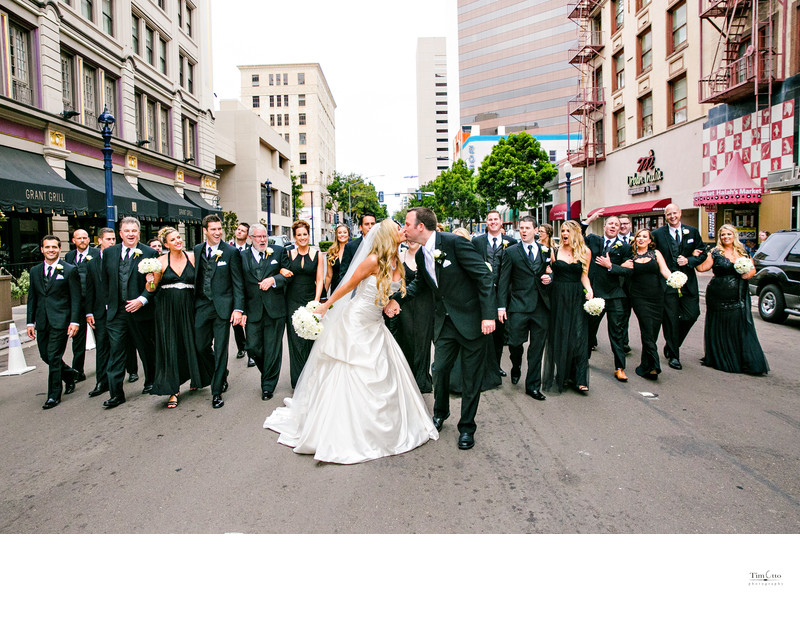 Huge bridal party photo US Grant Hotel