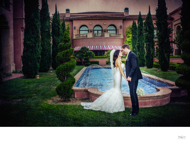 Bride and Groom Fairmont Grand del Mar Reflection Pool