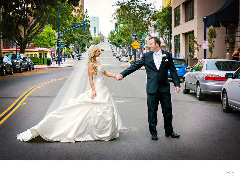 Bride and Groom in streets of Downtown San Diego