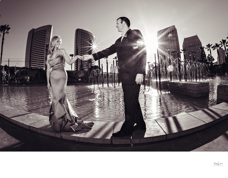Downtown Fountain Engagement Photo