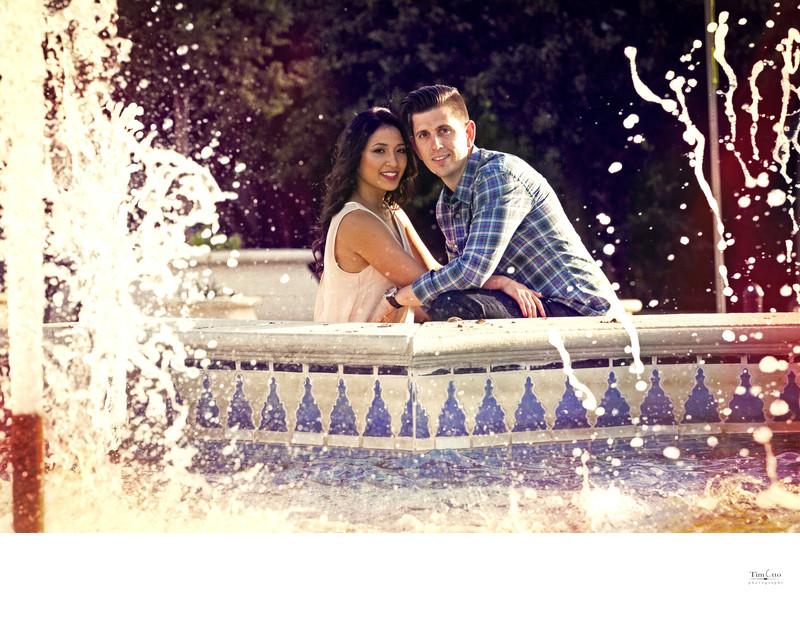 Engagement Photo Balboa Park Fountain