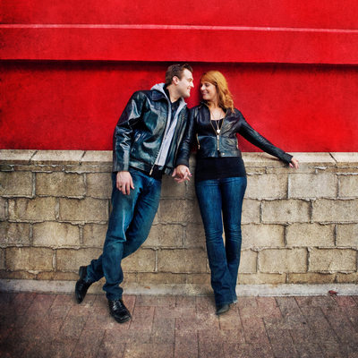 Red Wall Engagement Photo Shoot Downtown SD