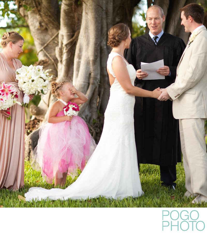 Flower girl at backyard wedding on Jupiter Island, FL