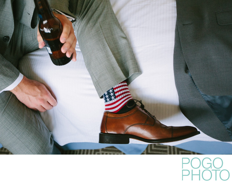 Groom's flag socks for 4th of July wedding in Vermont