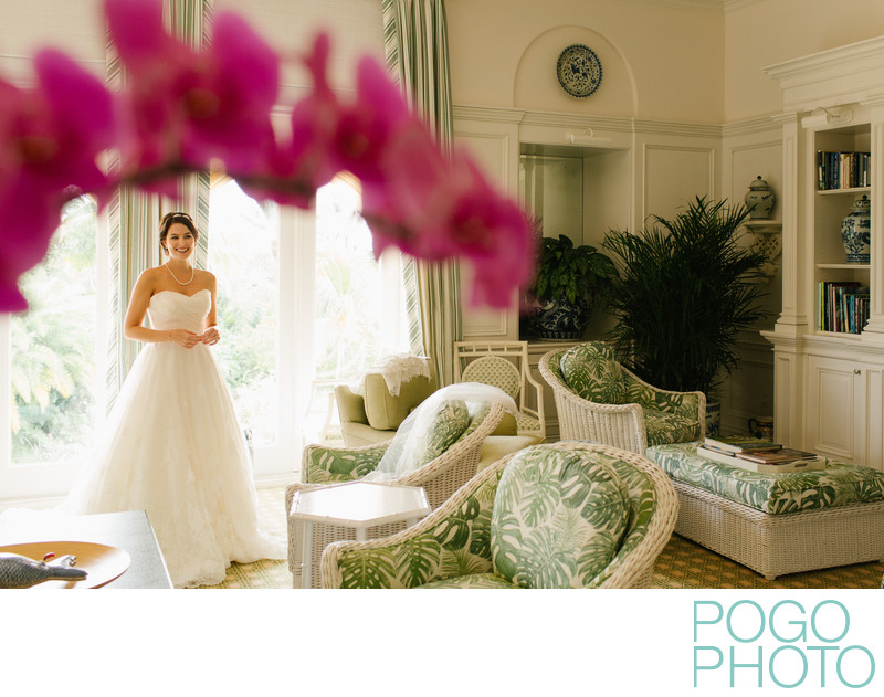 Bride in beautiful getting ready space at Old Palm