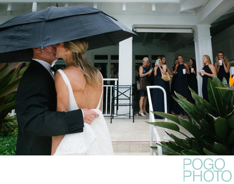 Rainy wedding at exclusive Palm Beach venue