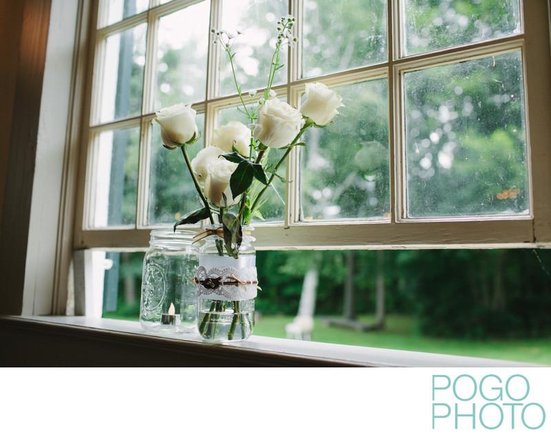 Simple charming DIY wedding flowers in Cornish NH