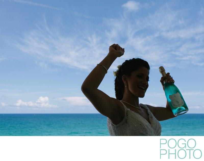 Blanc de Bleu champagne on wedding day in Florida